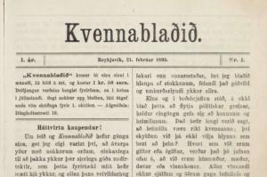 Forsíða fyrsta tölublaðs Kvennablaðsins