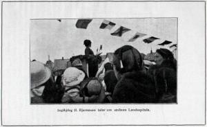 Ingibjörg H. Bjarnason heldur ræðu um stofnun Landspítala 7.júlí 1915